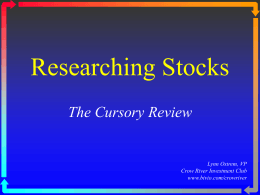 OnLine Stock Research