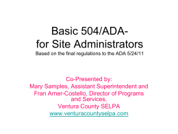 Basic 504- for New Principals