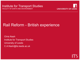 Rail Reform - British Experience