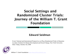 Journey of the William T. Grant Foundation