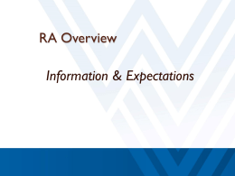 RA Overview - West Virginia University