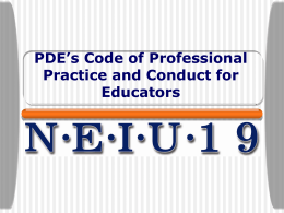Pennsylvania`s Code of Professional Practice and Conduct for