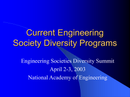 Current Engineering Society Diversity Programs