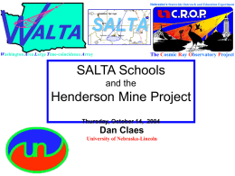 The SALTA Schools Henderson Mine Project