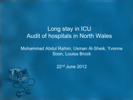 Long stay in ICU - Welsh Intensive Care Society