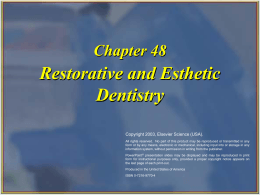 Restorative and Esthetic Dentistry