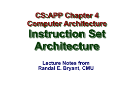 Y86 Instruction Set Architecture
