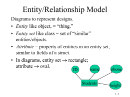 Lecture #1/2 - E/R modeling