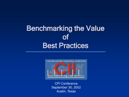 Benchmarking the Value of Best Practices