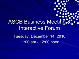 ASCB Business Meeting