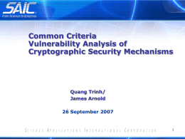 Common Criteria Vulnerability Analysis of Cryptographic