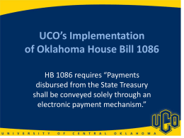 UCO`s Implementation of Oklahoma House Bill 1086