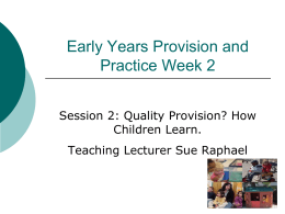 Researching Effective Pedagogy in the Early Years