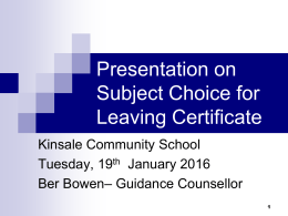 Presentation to Y4 parents re subject choice for progression to Y5
