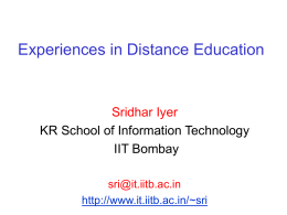 PPT source - Kanwal Rekhi School of Information Technology, IIT