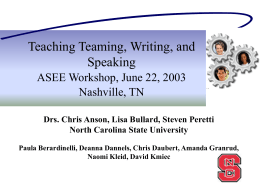 Using Writing, Oral Communication and Technology to Teach