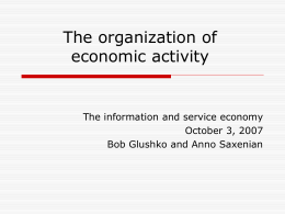 The organization of economic activity