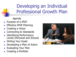 Developing Individual Professional Growth Plans