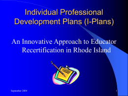 Individual Professional Development Plans (I