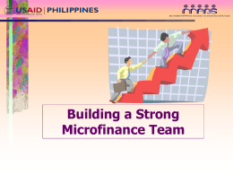 Building a Strong Microfinance Team: The Experience of Cantilan