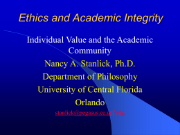 Ethics and Academic Integrity - Pegasus @ UCF