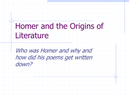 Homer and the Origins of Literature