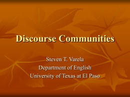 Discourse Communities - University of Texas at El Paso