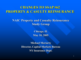 Changes to SSAP #62 Property and Casualty Reinsurance