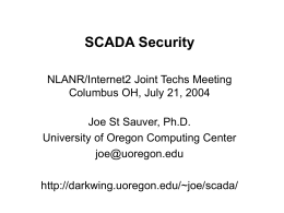 SCADA Security - Joe St Sauver