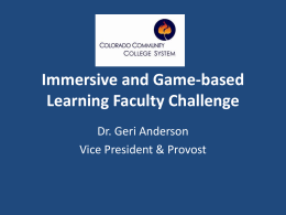 Immersive and Game*based Learning Faculty Challenge