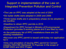 SUPPORT IN IMPLEMENTATION OF THE LAW ON IPPC