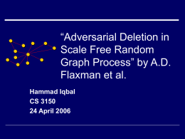 """Adversarial Deletion in Scale Free Random Graph Process"" by A.D."