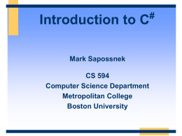 Introduction to C# - Computer Engineering Department