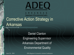 Corrective Action Strategy in Arkansas