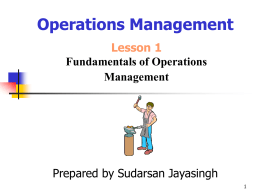Introduction to Operations Management