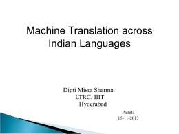 Introduction to NLP and Machine Translation