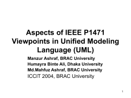 Aspects of IEEEP 1471 Viewpoints in UML