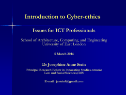 Introduction to Cyber-ethics Issues for ICT Professionals