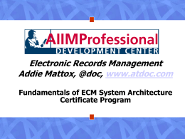 Fundamentals of ECM System Architecture Certificate Program