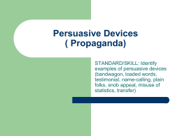 SPI 0701.5.4 Persuasive Devices (aka Propaganda)