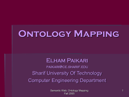 Ontology Mapping - Department of Computer Engineering