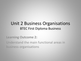 Unit 2 Business Organisations BTEC First Diploma Business
