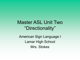 Master ASL Unit Two