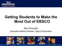 Getting Students to Make the Most Out Of EBSCOHost