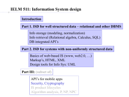 relational and other DBMS Part 2. ISD for systems with non