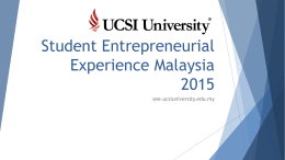 Student Entrepreneurial Experience Malaysia 2015