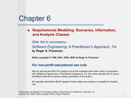 Requirements Modelling: Scenarios, Information and Analysis Classes