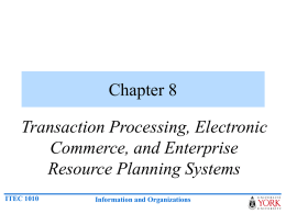 Chapter 8 – Transaction Processing, Electronic Commerce, and