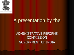 A presentation by the - 2nd Administrative Reform Commission