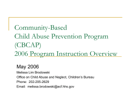 CBCAP Program Overview - Muskie School of Public Service